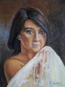 portret getrpuwde vrouw
