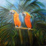 twee papegaaien in jungle